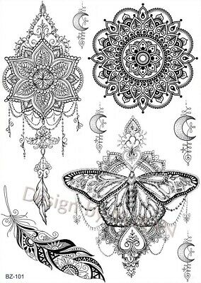 Black Henna Butterfly Temporary Tattoo Arms Henna Sticker Mandala /-b451-/