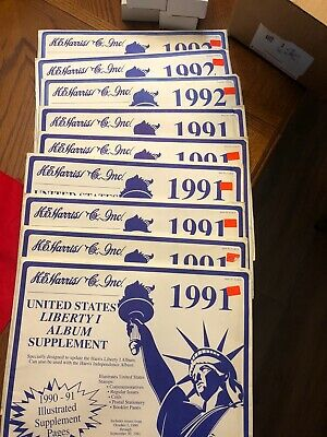 9 H.E Harris United States Liberty 1 Stamp Album Supplement Pages (6) 91, (3) 92