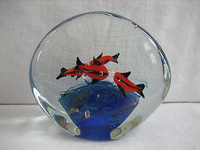 Vintage Large Clear Glass Paperweight 4 Orange, Black Fish and Blue Stone