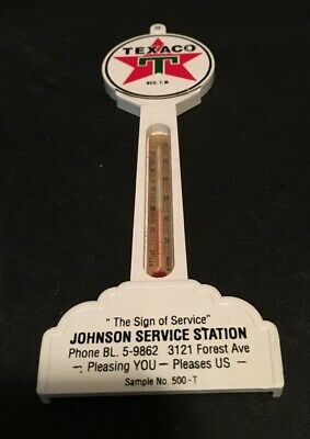 Vintage Texaco Pole Thermometer Advertising Johnson Service Station