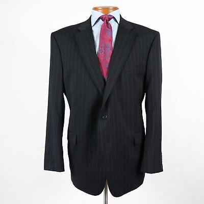 Jos A Bank Signature Mens 46L Navy Pinstripe Wool 2 Btn Blazer Suit Jacket 400