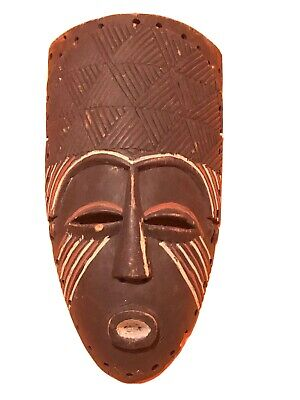Mask African Carved Wood Tribal Wall Hand Vintage Art Wooden Face Decor