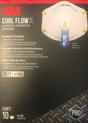 3M 8511 N95 Respirator Mask Face Mask w Valve 10-Pack, Made & Shipped In The USA
