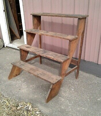 Antique Chestnut 4 Tier Step Flower Pot Crock Display Rack Stand Shelf