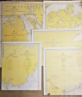 Lot of 6 Vintage North & South Carolina Navigational Soundings Charts 1957 -1971