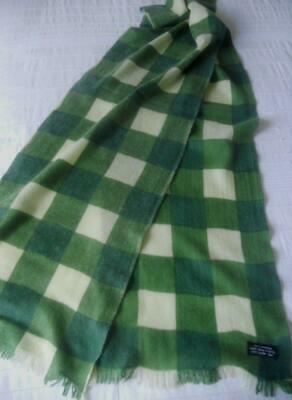 100% Cashmere Nepal Super Soft Scarf Green & Pale Yellow Checks