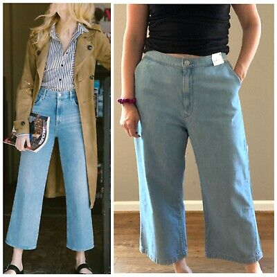 Express Cropped Culottes Light Blue Jeans Wide Leg Size 18 Plus NWT