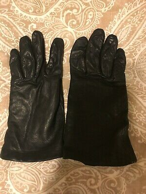 Womens Nordstrom Black Leather Gloves Size 7 1/2