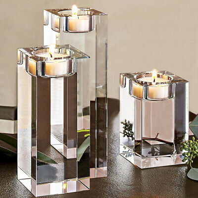 Set of 3 Crystal Tea Light Candles Holders Glass Cube Candlestick Tealight Stand