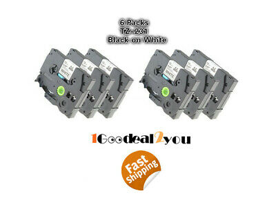 6 Pk Compatible Label Maker Tape 12mm for Brother P-Touch TZ-231 TZe-231 PT-D210