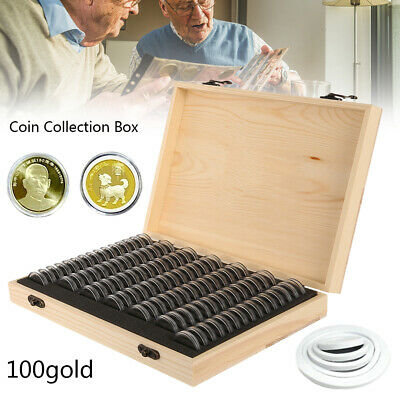 Wooden Coin Display Storage Box Case For Collectible Coin With 100 Capsules New