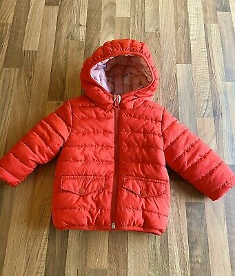 M&S Baby Girl Coat Reversable Red Pink Unicorn 3-6 Months VGG Marks And Spencer