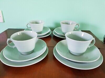 Vintage 1940's Lot Woods Ware Beryl Tea Cups & Saucers plates 12 pieces