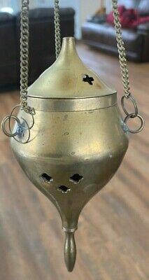 Vintage Early Solid Brass Hanging Incense Burner Religious Church Antique Spirit