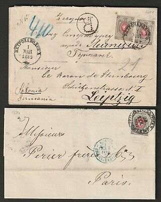 Russia 1877 + 1884 horizontal striped paper on 2 covers to Germany & France
