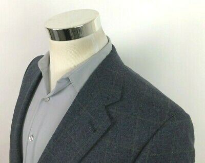 Hart Schaffner Marx Gray Beige Windowpane Sport Coat 2 Button Blazer Mens 40 R S