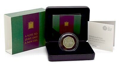 2020 NEW Brexit 50p Fifty Pence Silver Proof Royal Mint Coin BOX + COA