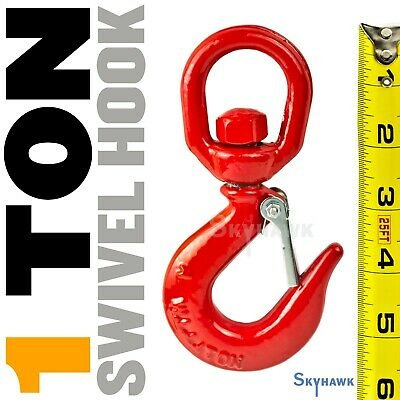 "Lifting Hook With Safety Latch, 1 Ton (Swivel) 3/8"" Thick Eye"
