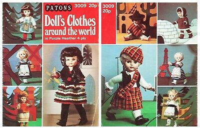 Patons Knitting Pattern Book Dolls Clothes Around The World Outfits 3009 Vintage