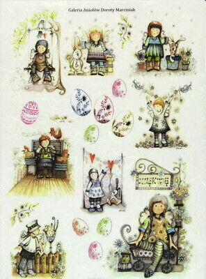 Rice Paper for Decoupage Scrapbooking Sheet Craft Easter, Small Angels with eggs
