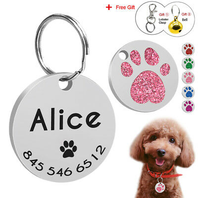 Paw Glitter Dog Tags Personalized Cat Dog Name Engraved Round ID Tags with Bell