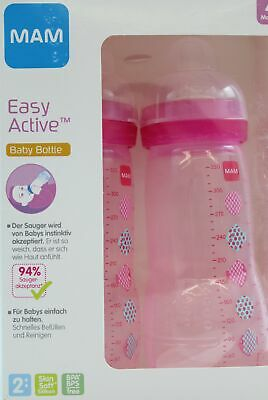 MAM Easy Active Trinkflasche im 2er-Set 4+ Monate Rosa 330 ml
