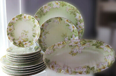 11ps set Antique Germany Tettau P.T. handpainted Plates & Platters White Lilly