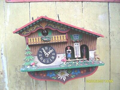CUCKOO CLOCK PARTS chalet cuckoo clock WEATHER MAN AND LADY FOR REPAIR SEE VIDEO