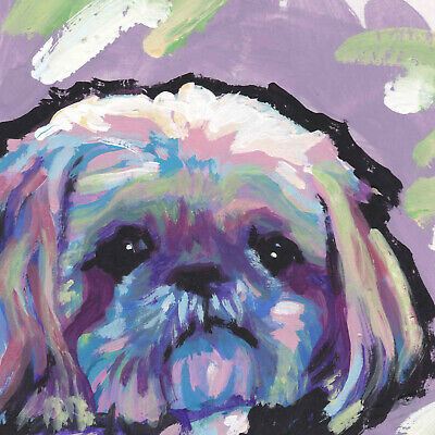 Shih Tzu print of bright pop art colorful dog portrait Painting 8x8