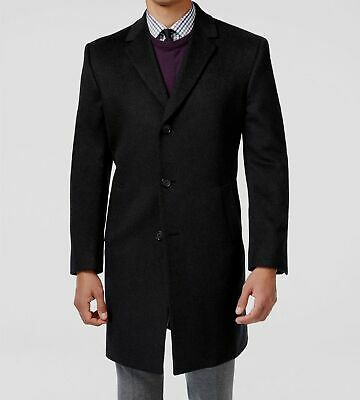$350 Kenneth Cole Reaction Mens Charcoal Wool Blend Slim Fit Overcoat Size R44