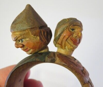 Rare Antique Anri Carved Wooden Napkin Ring- Man And Woman Marital Discord
