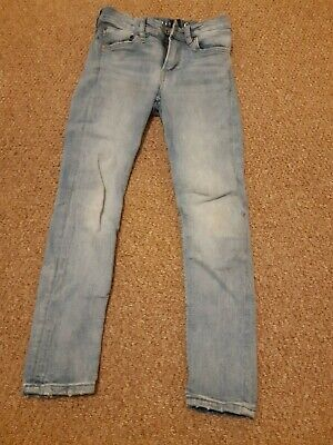 Boys H&M skinny fit light blue jeans age 8-9