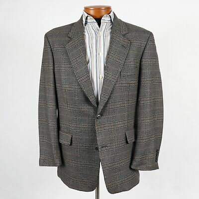 Gianfranco Ruffini Mens 42R Gray Blue Plaid Lambswool Blazer Sport Coat 342
