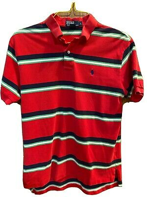 Polo Ralph Lauren Golf Shirt Mens Large Cotton Red Green White Striped Pique
