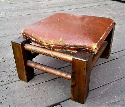 Antique Wooden Shoe Store Footstool Red Oil Cloth 1920s