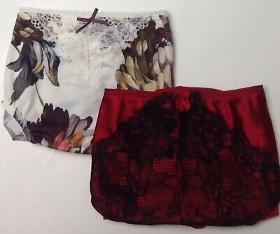 Lot (2) Two14/16 Nylon Hipster Panty WHITE FLORAL RED LACE Cacique Lane Bryant