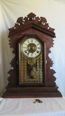 Beautiful Antique E. Ingraham 8 Day Chiming Gingerbread Mantle Shelf Clock