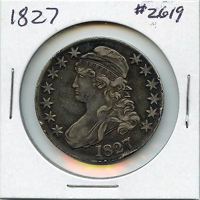1827 50C Sq. Base 2 Capped Bust Silver Half Dollar.Lightly Circulated. Lot #2350