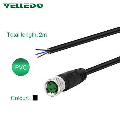 VELLEDQ Pre-Wired M8 Connector Cable 3-Pin Female A-Coding 2M PVC Wire Line