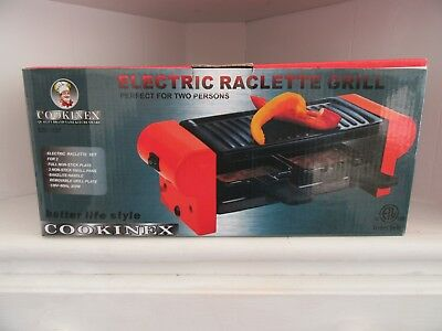 Electric Raclette Grill Set For 2 Non Stick Cookware ED-337 Cookinex New In Box