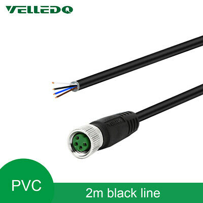 VELLEDQ Industrial Pre-Wired M8 Connector 4Pin Female Cable A Coding 2M PVC Line