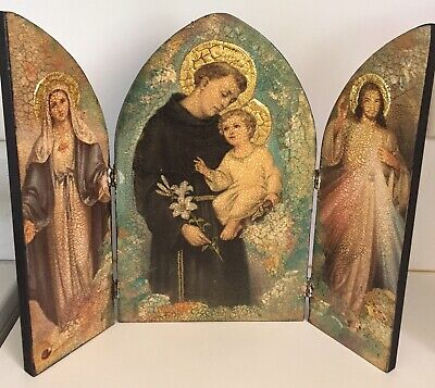 Religious art triptych by Mallama featuring Catholic Mary Jesus and St Anthony