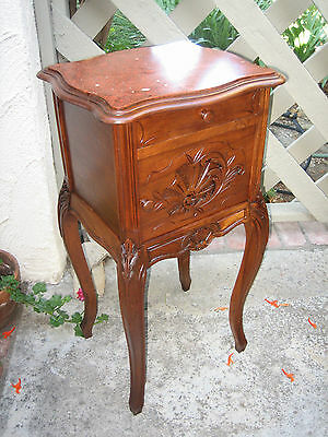 French Country  Hand Carved Louie Xv Solid Walnut, Original Marbletop Nightstand