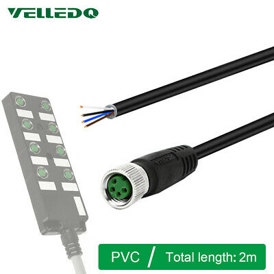 VELLEDQ Pre-Wired M8 Connector Cable 4-Pin Female 2M PVC Line For Industrial