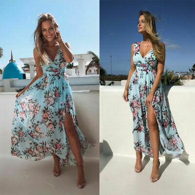 Women Maxi Summer Party Casual V-neck Dress Boho Floral Holiday Beach Sundress