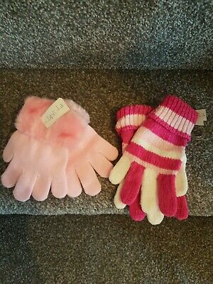 Two Pairs Claire's Club Girls Pink Mix Winter Gloves Bnwt