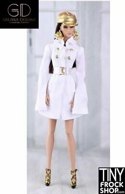 Barbie White and Gold Coat Dress Set by Galiana Designs