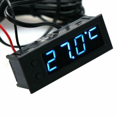 Car Interior Digital Electronic LCD Time Clock Watch Thermometer Voltmeter Blue