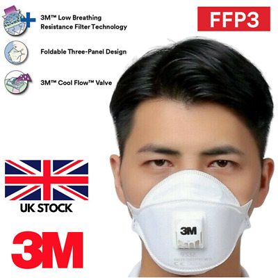 3M FFP3 9332 Respirator Face Mask Flu Pollution Bacteria Dust Protection