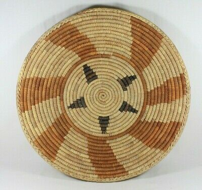 "16"" Native American Hand Woven Basket Natural Fibers Grass Weave"